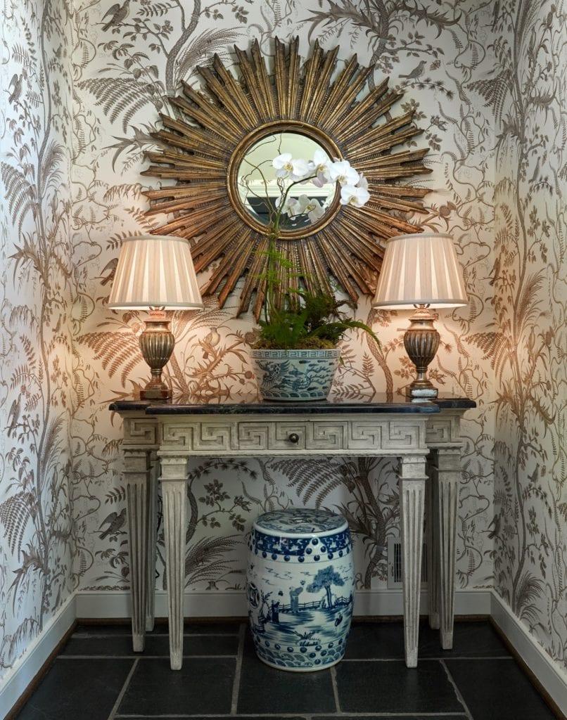 Folly North Carolina Brunschwig Fils Bird Thistle Toile Wallpaper Beige Sunburst Mirror Chinoiserie The Glam Pad