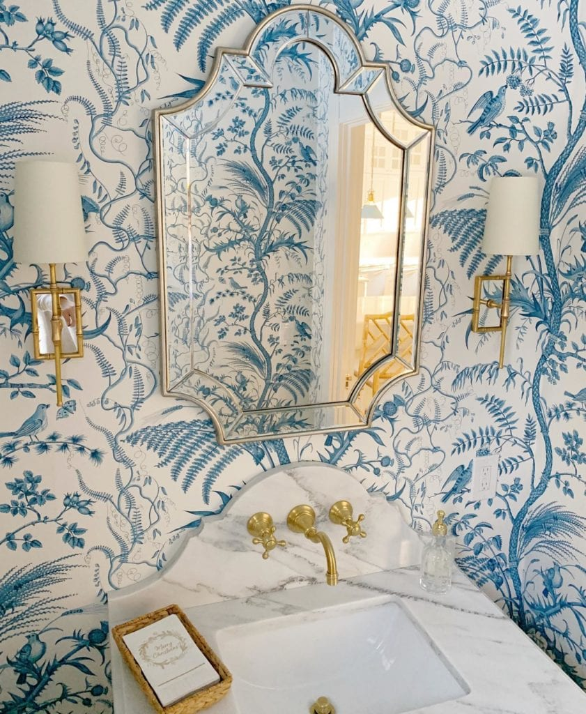 Lee Owens Design Bird And Thistle Wallpaper Brunschwig Fils Blue Powder Room The Glam Pad