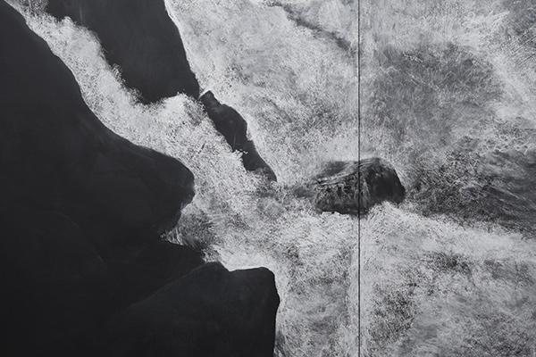 (Detail) Fatigues (2012), Chalk on blackboard, 6 panels, 2.8 x 11.07 m