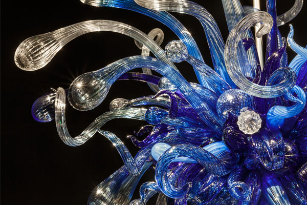 Blown glass chandelier by American artist, Dale Chihuly, in