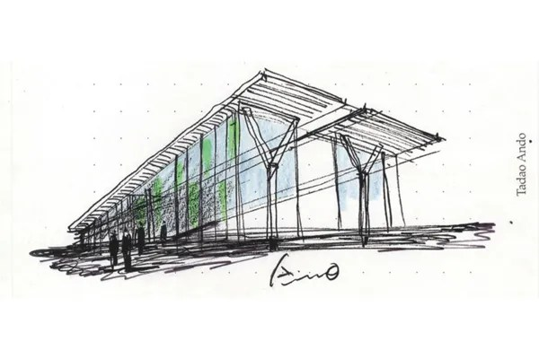 Sketch by Tadao Ando for the Modern Art Museum of Fort Worth, Texas - USA - Images and photographs courtesy of Tadao Ando Architect & Associates
