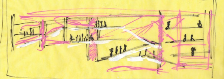 Sketch of Armani Fifth Avenue. New York - USA. 2007-2009 by Doriana Fuksas