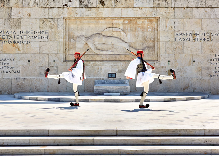 Changing Of The Guard Outside Greek Parliament