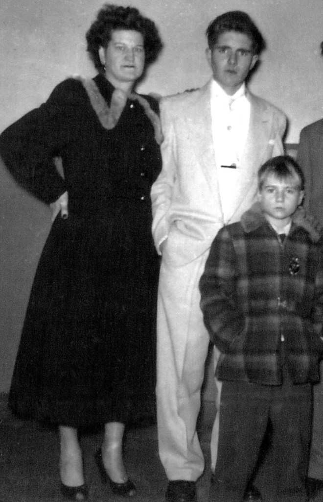 (From left) mother Charlotte, brother Billy, Jerry 1954. Photgraph: courtesy of Billy and Frank Nolan