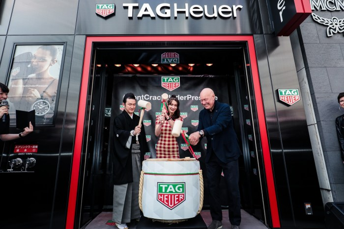 Shido Nakamura, Kabuki Actor, Bella Hadid, TAG Heuer Ambassador and Jean-Claude Biver, CEO of TAG Heuer and President of the LVMH Watch Group Division, at the opening of the new Brand Store in Ginza - Japan