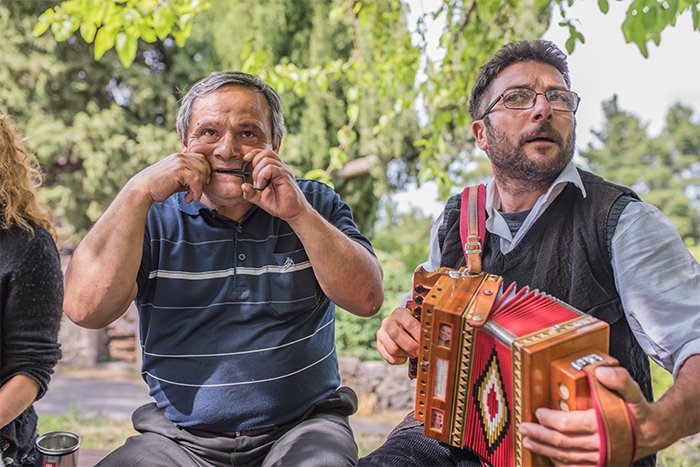 Sicilian Musicians Play Local Folk Instruments, the Ciarmaedda (Mouth Harp) and 'Marranzanu (Bagpipe)