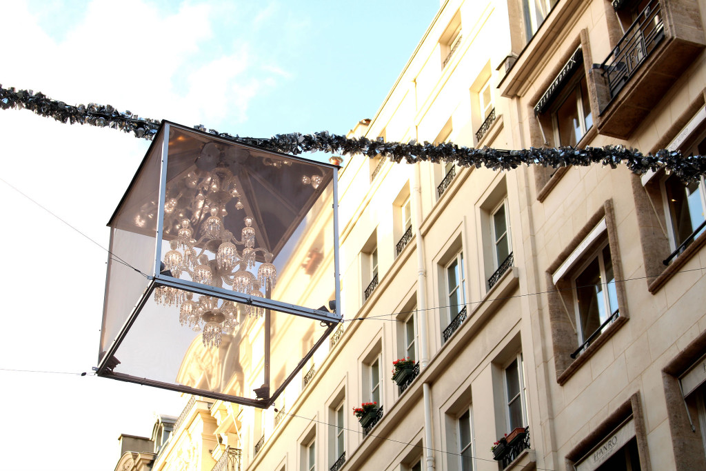 Hanging chandelier, Rue Saint-Honore, Christmas in Paris, The Glittering Unknown