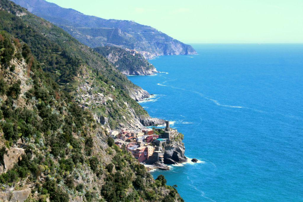 The Glittering Unknown view of Vernazza, Corniglia and Manarola from Sentiero Azzurro Cinque Terre Italy