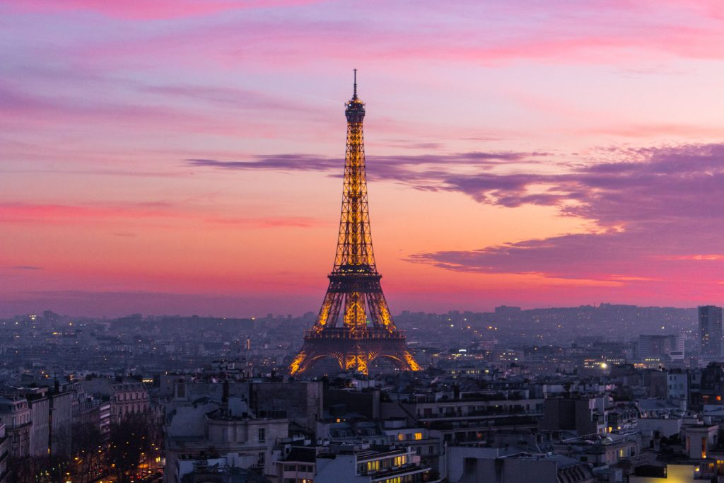 Sunset from the top of the Arc de Triomph- 5 Best Sunset Spots in Paris