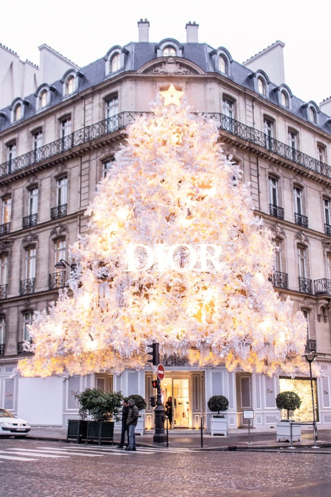 Christmas Decorations in Paris- Dior tree (2018)