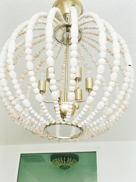 wooden bead light fixture, diy light fixture, bathroom ligthts, beach decor, master bathroom,
