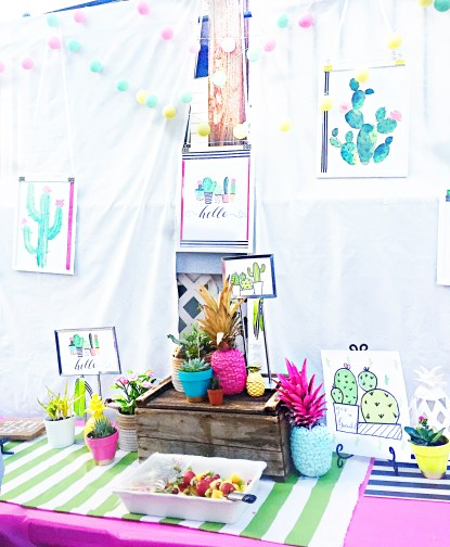 tropical shower theme, pineapple party ideas, summer party ideas, summer wedding shower, tropical dinner party, summer bridal shower. cactus party ideas,