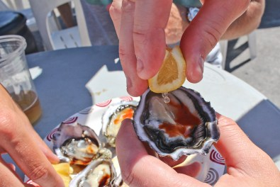 Oyster with Tabasco and lemon
