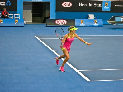 Eugenie Bouchard on court