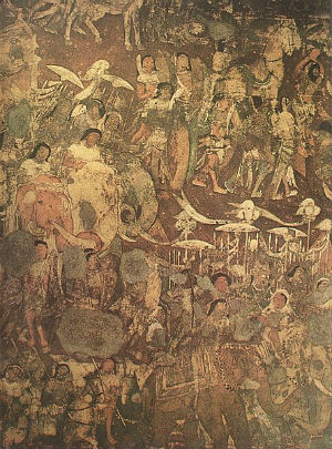 A section of the mural at Ajanta in Cave No 17,depicts the 'coming of Sinhala'.The prince (Prince Vijaya) is seen in both of groups of elephants and riders
