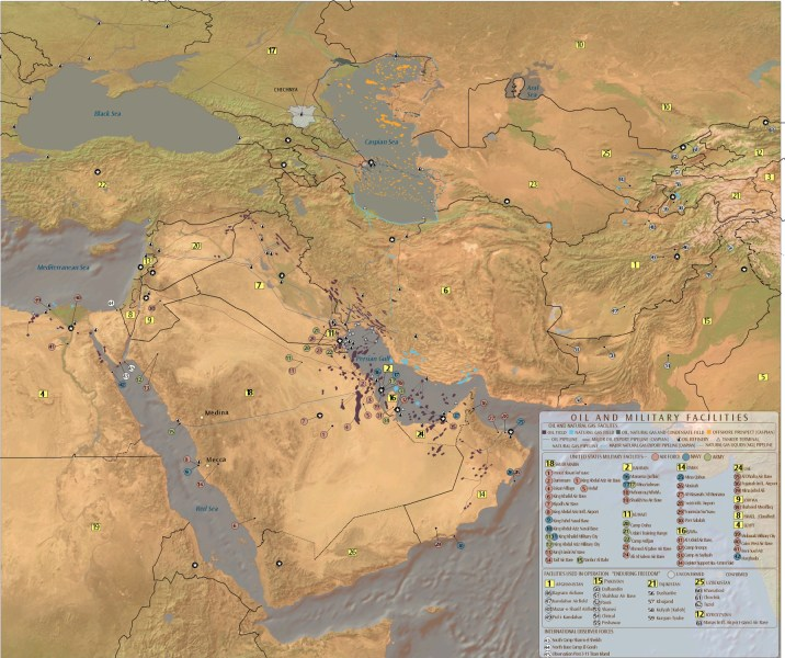 Map   Oil and gas fields  oil and gas pipelines  refineries  export     Map   Oil and gas fields  oil and gas pipelines  refineries  export  terminals and US military facilities   The Middle East   Information