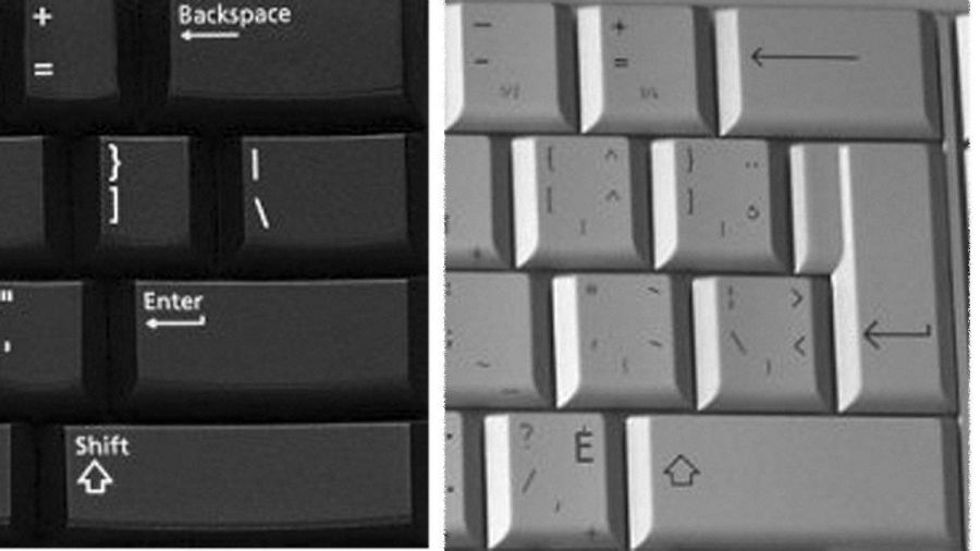 French  keyboards frustrate computer buyers   The Globe and Mail The U S  English keyboard on the left  and corresponding area of the  multilingual on the