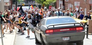 car, rally, protesters, violence
