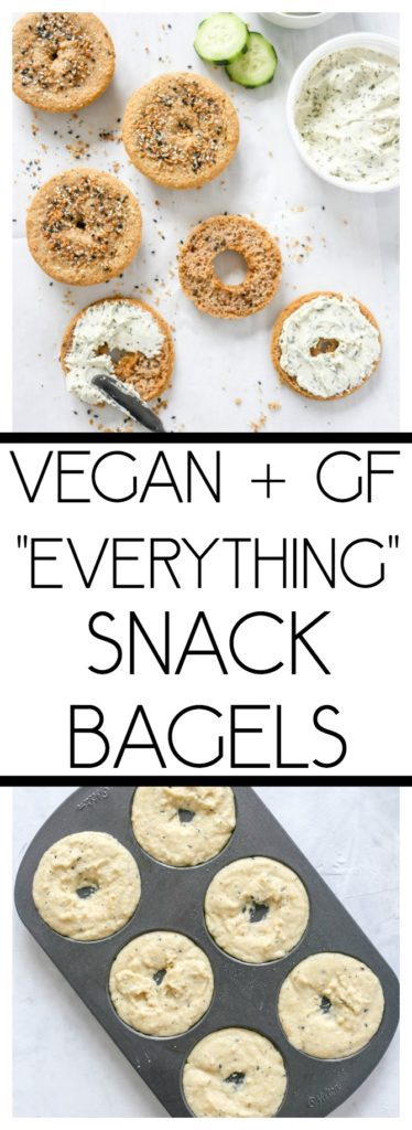 Vegan Everything Snack Bagels (Gluten-Free). Bagel thins made in a donut pan. Top with vegan cream cheese or avocado, with a side of cucumber or fruit. #veganbagels #glutenfree #simplerecipe