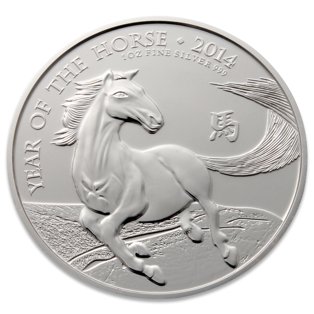 Royal Mint 2014 Year Of The Horse Silver Coin 1oz 999