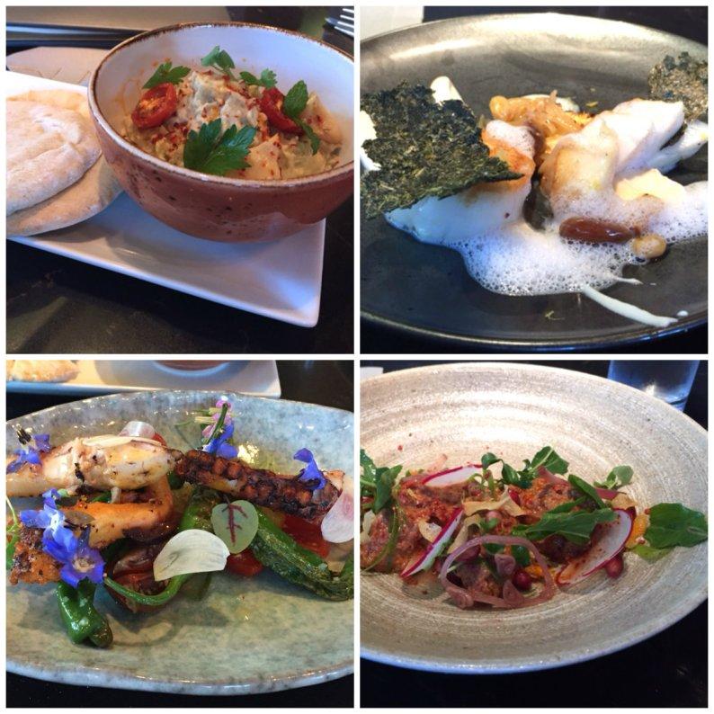 Top row: Baba Ganouj (fireroasted eggplant); scallops malokhia. Bottom: grilled octopus and crushed walnut muhammra
