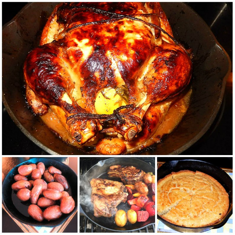 Classics in cast-iron cookery: roast chicken, cornbread, chops and potatoes