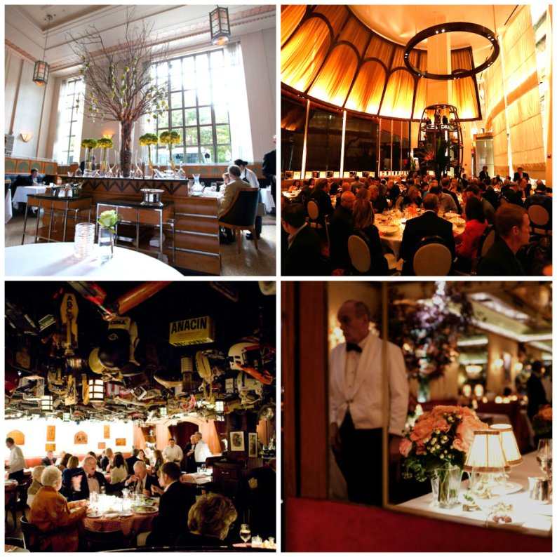 New York's fabled dining rooms: clockwise: 11 Madison Park; Le Cirque; 21 Club and La Grenouille