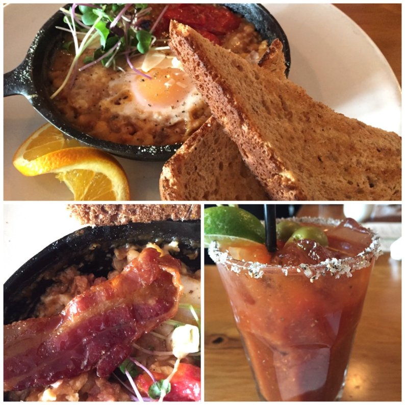 Brunch lineup: baked eggs with roasted tomatoes, ham and white bean stew' perfect bloody Mary and maple bacon added to the dish
