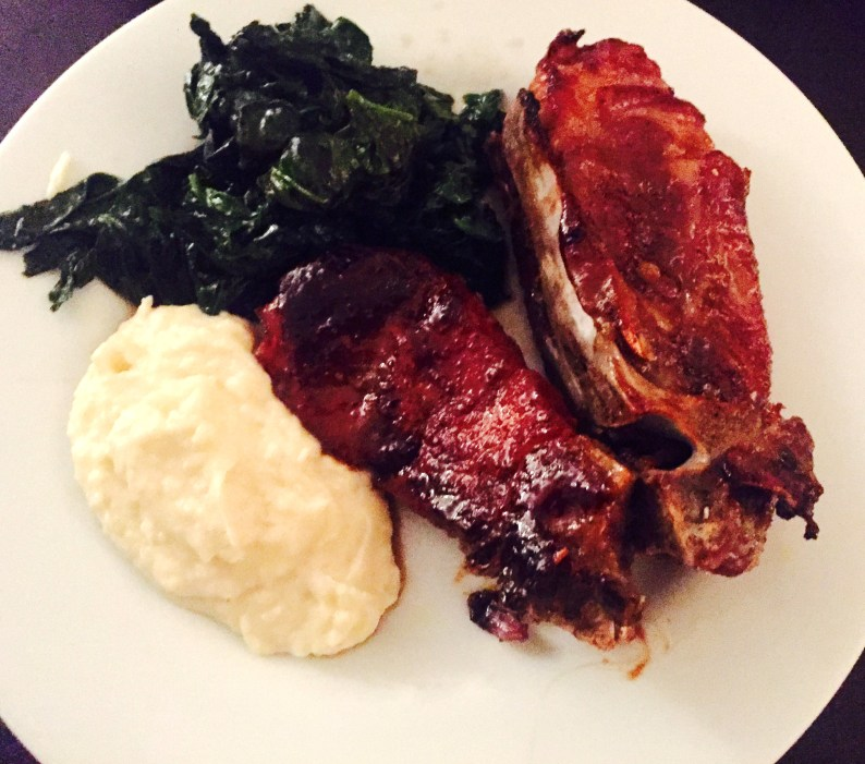 Slow roasted spice rubbed ribs served with a puree of celery root and potato and sauteed spinach