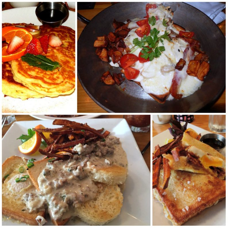 Brunch specials of the old Caiola's: Clockwise: pancakes, Hot Brown, Bird's Nest, special French Toast
