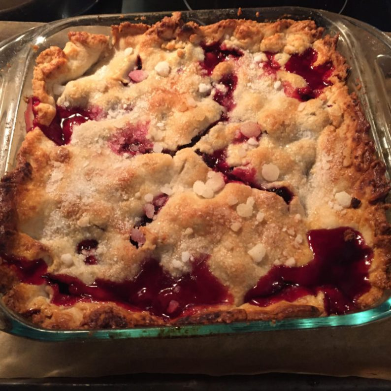 Blackberry cobbler fresh out of the oven