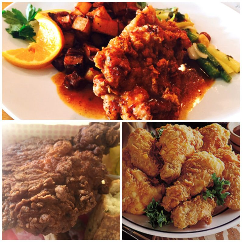 Clockwise: fried chicken at the old Caiola's; a generic portrayal of fried chicken ; fried chicken at BJ's