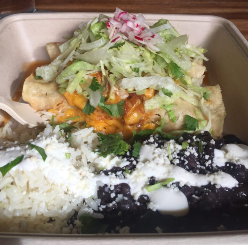 Chicken enchilada with rice and beans