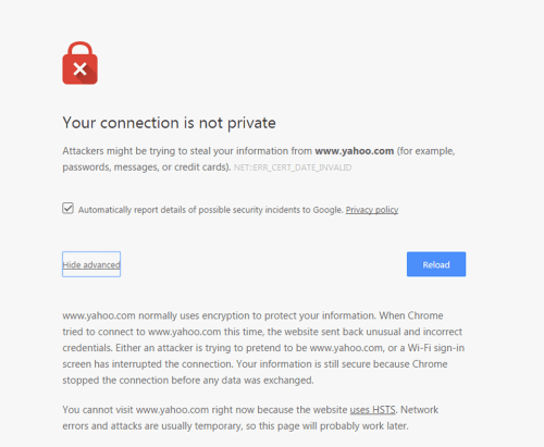 This is what a website looks like when you view it and it is not secure