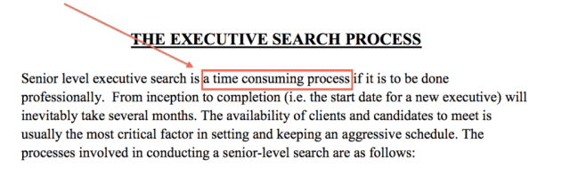 Executive Search Process Time Consuming Process
