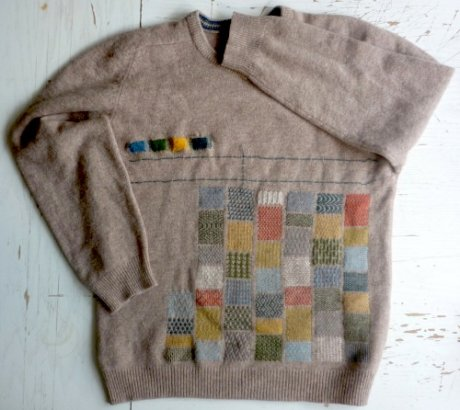 Tom of Holland second-hand wool jumper, hand-embellished with Appleton crewel wool