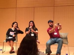 "Roshani Chokshi, Zoraida Cordova, and Daniel Jose Older take a selfie during their ""Magic Beyond the Grave"" panel."