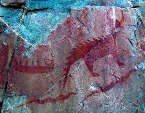 Pictograph of Mishibeshu from Lake Superior Provincial park, attributed to the Ojibwe. (Wikipedia)