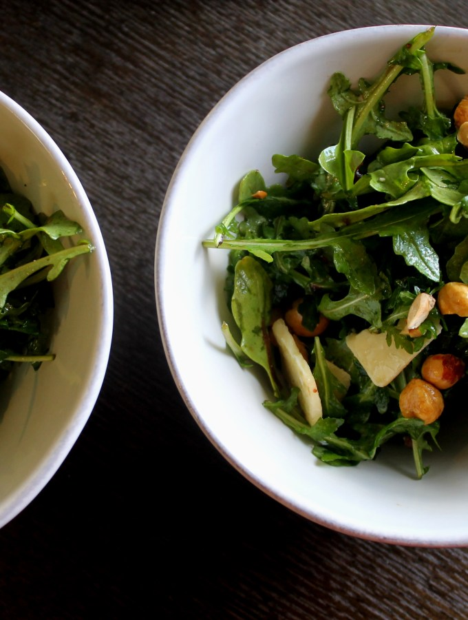 Hazelnut Arugula Salad with Fig Vinaigrette