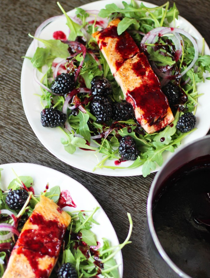Salmon with Blackberry Gastrique Sauce