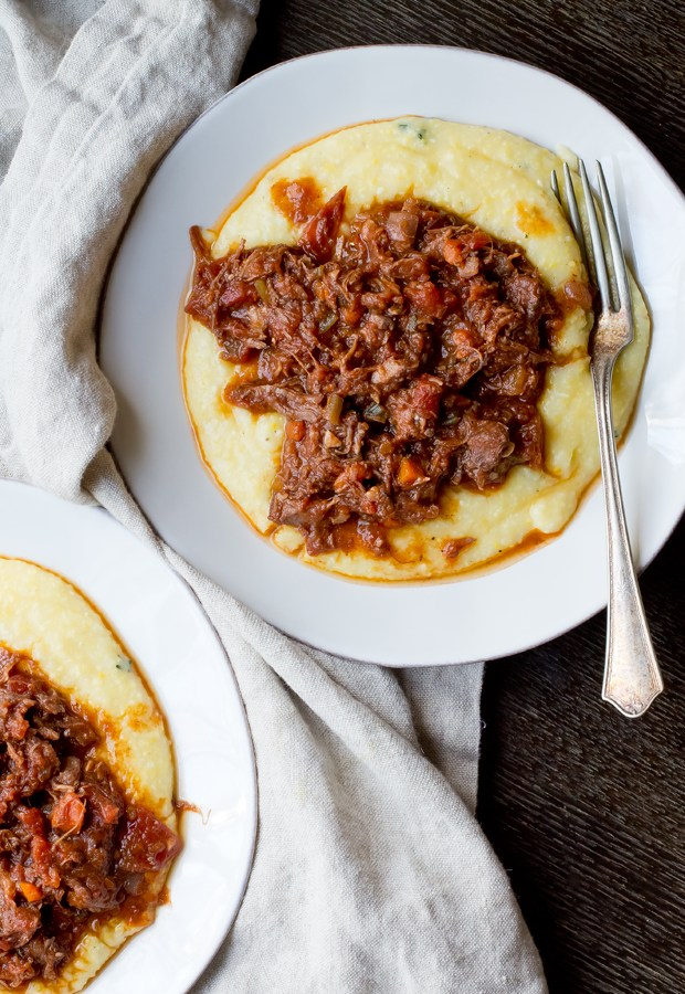 Wild Boar Ragu with Cheesey Polenta