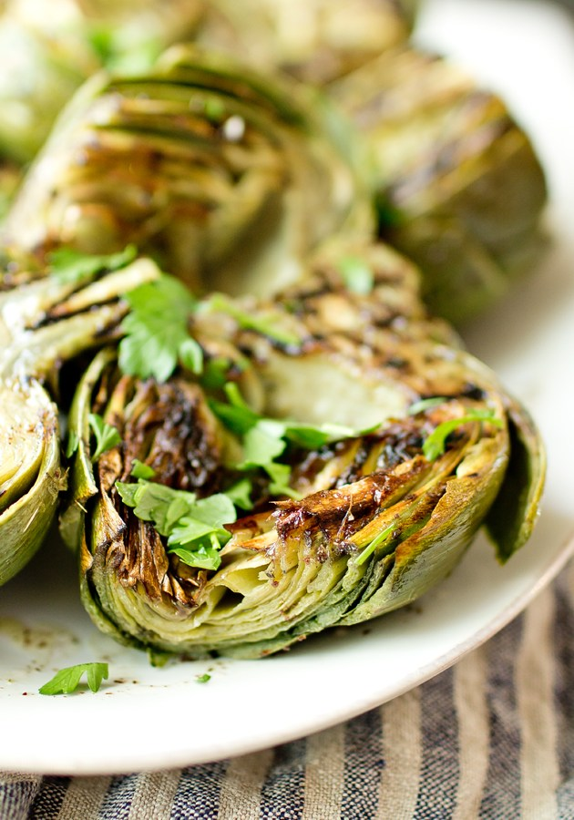 Grilled Artichokes with Sumac Dressing