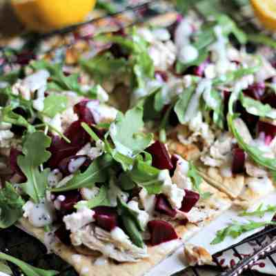 Pickled Beet Flatbread with Lemon Poppy Seed Dressing
