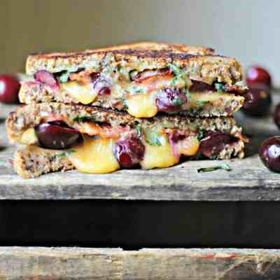 Grilled Cheese with Bacon, Cherries & Basil