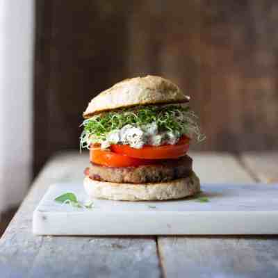 Herbed Goat Cheese & Heirloom Tomato Turkey Burgers