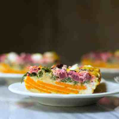 Beet & Goat Cheese Sweet Potato Quiche