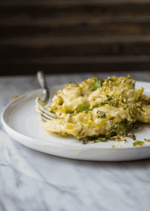 Mac & Cheese with Crispy Brussels Sprouts Topping