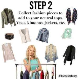 step 2- collect fashion pieces to add to your neutral tops
