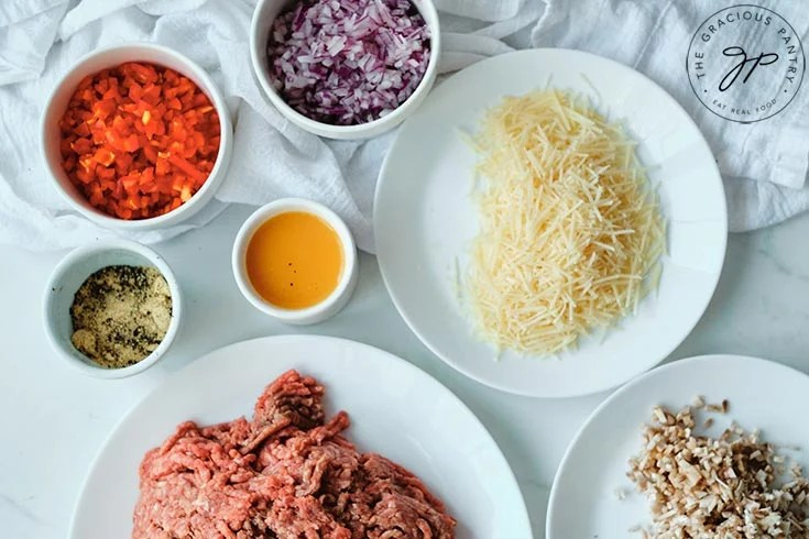 Individual ingredients for making this meatball recipe.
