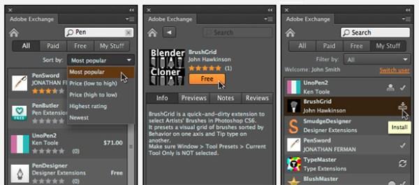 Adobe Exchange Panel